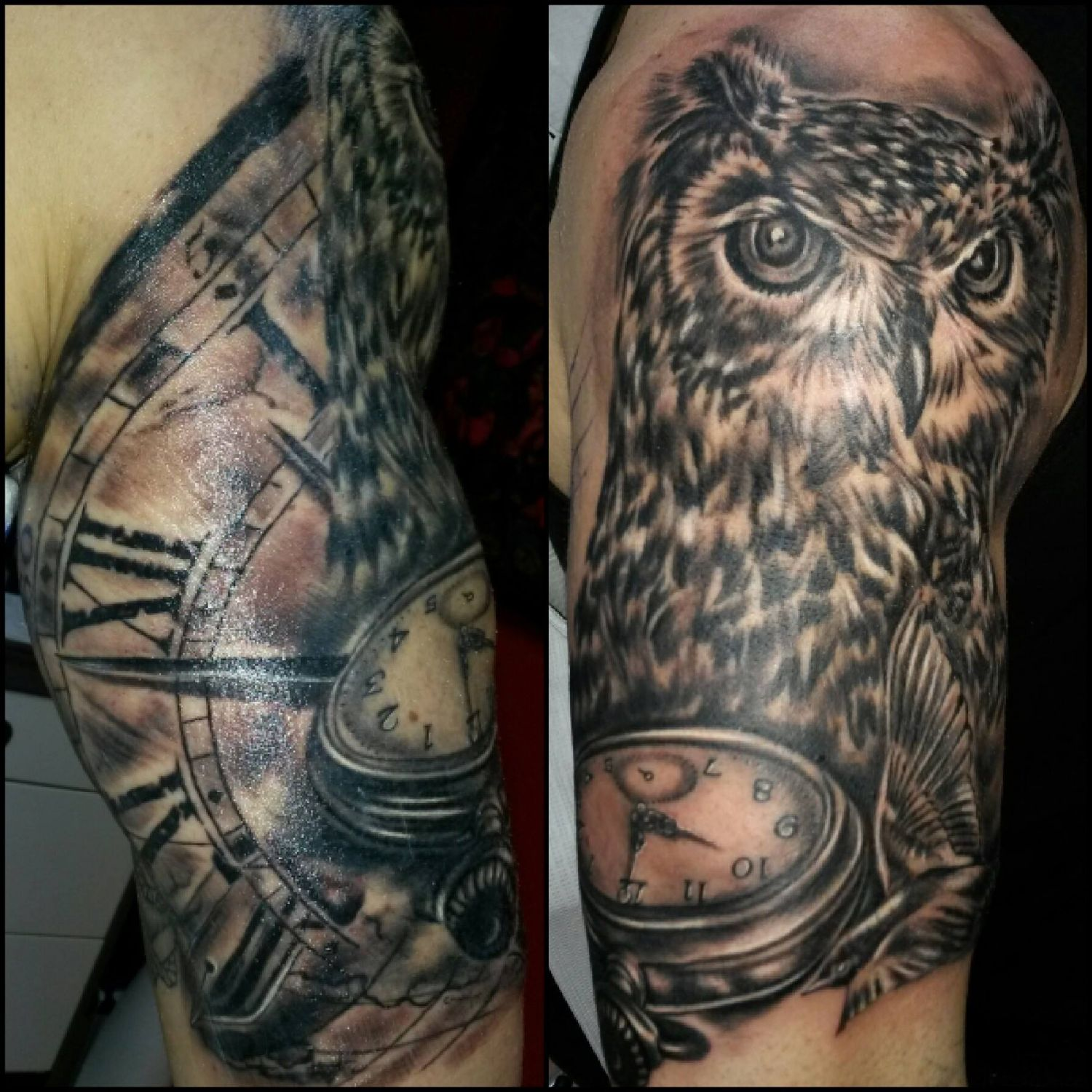 owl owl tattoo portrait clock