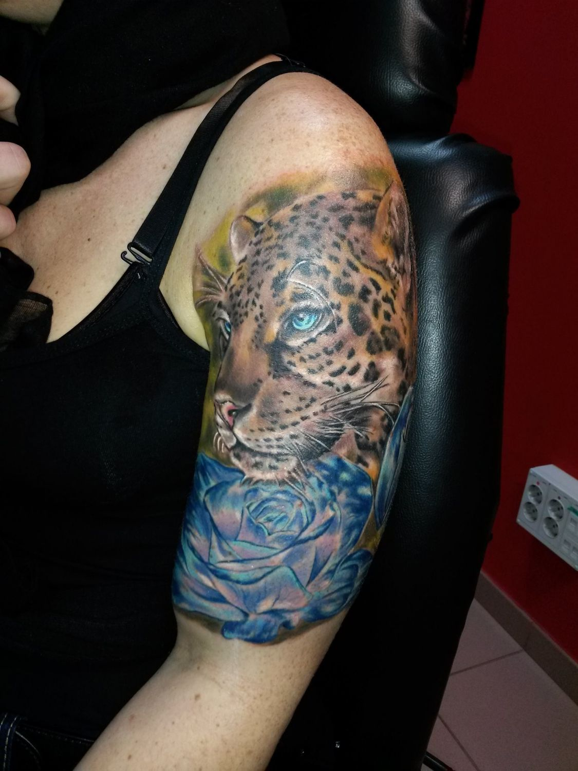 leopard leopard tattoo portrait color
