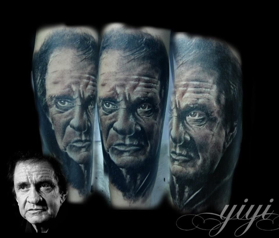 Retrato johnnye cash Tattoo retrato realizado p...